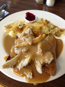 Hot Turkey Sandwich with Gravy and Cranberry Relish at the Hilltop Diner Cafe