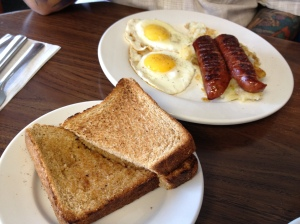Eggs, Farmer's Sausage & Toast at the Hilltop Diner Cafe