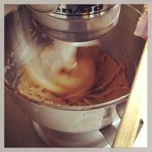 Mixing 1/2 cup each of soft butter, light brown sugar & creamed honey for #PeanutButterLoversDay cookies
