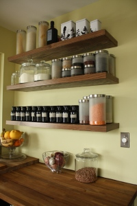 Dry goods shelves and produce corner