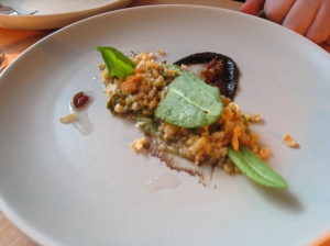 Fire Roasted Green Farro, spruce tips, black garlic, sorrel