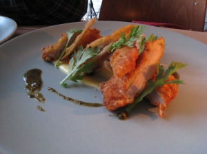 Fried Chicken & Pickles, crispy skin, charred chili vinegar