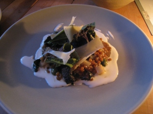 Wheat Berry Risotto, sunroot, mustard greens, castelvetrano olives, Farmhouse 'Fermiere', smoked crema